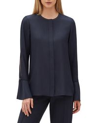 Lafayette 148 New York - Izzie Matte Silk Blouse W/ Bell Sleeves - Lyst