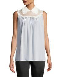 c123cc482f71 Miu Miu - Sleeveless Button-down Back Silk Crepe De Chine Blouse W lace