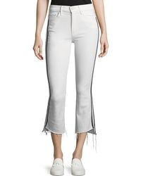 Mother - Insider Crop Step-fray Straight-legs Jeans W/ Racing Stripes - Lyst