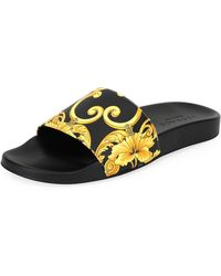 Versace - Men's Graphic-print Tribute Slide Sandal - Lyst