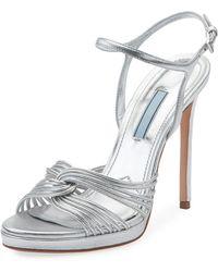 Prada - Metallic Platform 115mm Sandals - Lyst