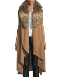 Alice + Olivia - Beatrice Draped Wool-blend Vest W/ Fox Fur - Lyst