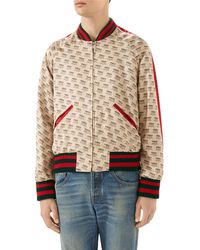 dbafe06ff Lyst - Gucci Embroidered Corduroy Bomber Jacket in Red for Men
