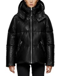 Mackage - Miley Leather Puffer Coat W/ Detachable Hood - Lyst