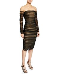 Pamella Roland - Off-the-shoulder Ruched Tulle Body-con Dress - Lyst
