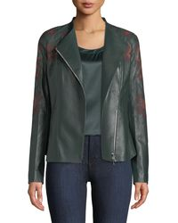 Lafayette 148 New York - Aimes Embroidered Leather Moto Jacket - Lyst