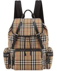 Burberry - Men's Rucksack Signature Check Backpack - Lyst