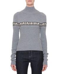 Tomas Maier - Turtleneck Long-sleeve Printed Wool Sweater - Lyst