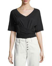 A.L.C. - Trinity V-neck Short-sleeve Cotton Tee - Lyst