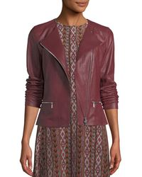 Lafayette 148 New York - Trista Zip-front Weathered Lambskin Leather Jacket W/ Jersey Combo - Lyst