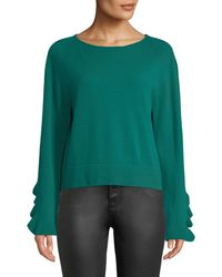 Autumn Cashmere - Ruffle-sleeve Crewneck Cashmere Pullover Sweater - Lyst