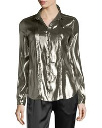 Burberry - Metallic Button-front Blouse - Lyst