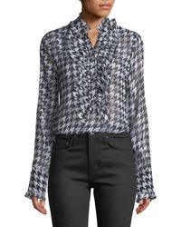c8af67d3f16fed Equipment - Samine Ruffled-bib Long-sleeve Houndstooth Silk Blouse - Lyst