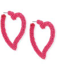 Sachin & Babi - Seed Bead Heart Hoop Earrings - Lyst