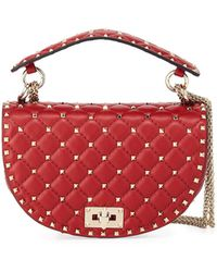 Valentino - Rockstud Spike Napa Leather Saddle Bag - Lyst