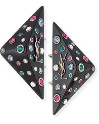 Saint Laurent - Eighties Triangle Clip-on Earrings - Lyst