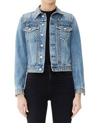 Citizens of Humanity - Cleo Studded Cropped Denim Jacket - Lyst