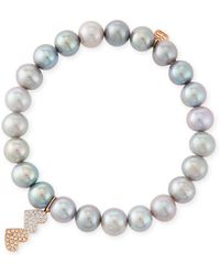 Sydney Evan | 8mm Gray Pearl Beaded Bracelet With Diamond Duo Heart Charm | Lyst