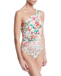 Carmen Marc Valvo - One-shoulder Floral Leopard Ombre One-piece Swimsuit - Lyst