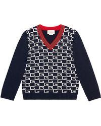 Gucci - Logo Jacquard Wool V-neck Sweater - Lyst
