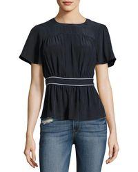 FRAME   Piped Short-sleeve Peplum Silk Top   Lyst
