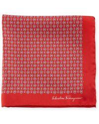 Ferragamo - Solid-border Gancini Silk Pocket Square - Lyst