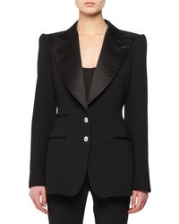 Tom Ford - Satin Peak-lapel Two-button Wool Tuxedo Jacket W/ Crystal Buttons - Lyst