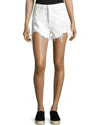 T By Alexander Wang - Hike Rolled Distressed Denim Shorts - Lyst