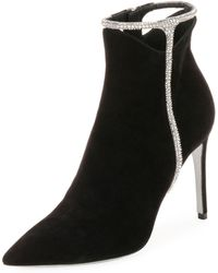 Rene Caovilla - Suede Booties With Strass Detail - Lyst