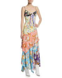 Peter Pilotto - Floral Patchwork Tie-front Midi Dress - Lyst
