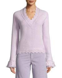 Jonathan Simkhai - Scalloped V-neck Wool Tassel-cuff Sweater - Lyst