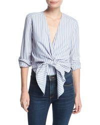 Veronica Beard - Diana Striped Tie-front Cotton Bodysuit - Lyst