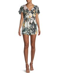 Club Monaco - Ionita Floral-print Ruffle Romper - Lyst