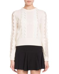 Chloé - Crewneck Long-sleeve Wool Scalloped Knit Sweater With Lace Inserts - Lyst