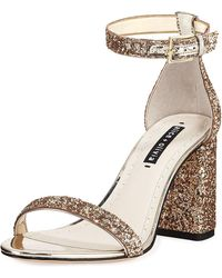 Alice + Olivia - Lillian Glitter Block-heel Sandals - Lyst