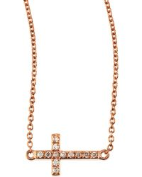 Sydney Evan - Small 14k Rose Gold Pave Diamond Cross Necklace - Lyst