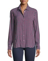Equipment - Leema Long-sleeve Button-front Houndstooth Blouse - Lyst