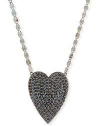 Lana Jewelry - 14k Reckless Black Diamond Heart Necklace - Lyst