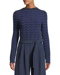MILLY - Textured Wave Pullover Sweater - Lyst