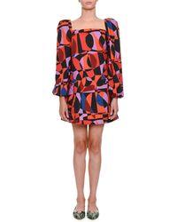 Tomas Maier - Geometric-pattern Babydoll Dress - Lyst