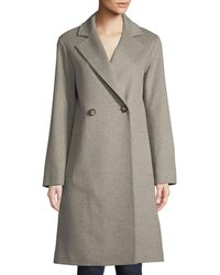 Fleurette - Long Double-breasted Wool Coat - Lyst