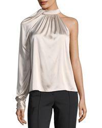 A.L.C. - Piper Mock-neck One-shoulder Silk Satin Blouse - Lyst