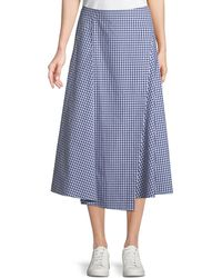 Theory - Hartman Gingham Midi Cotton Placket Skirt - Lyst