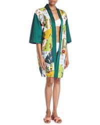 VERANDAH - Patchwork Open-front Charmeuse Kimono - Lyst