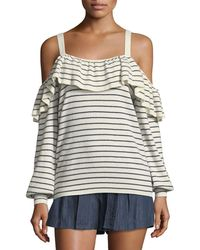 Joie - Delbin B Striped Cold-shoulder Wool-cashmere Sweater - Lyst