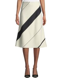Narciso Rodriguez - Striped Wool A-line Midi Skirt - Lyst