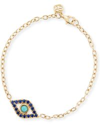 Sydney Evan - Sapphire & Turquoise Evil Eye Chain Bracelet - Lyst