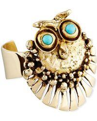 Lisa Eisner Jewelry - Bronze Owl Cuff Bracelet With Turquoise - Lyst