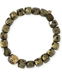 Sydney Evan - 8mm Cubed Pyrite Beaded Bracelet W/ 14k Diamond Buddha Bead - Lyst