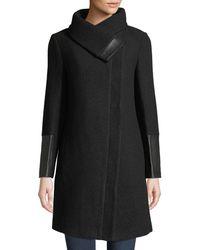 Club Monaco - Eldise Leather-trim Wool Coat - Lyst